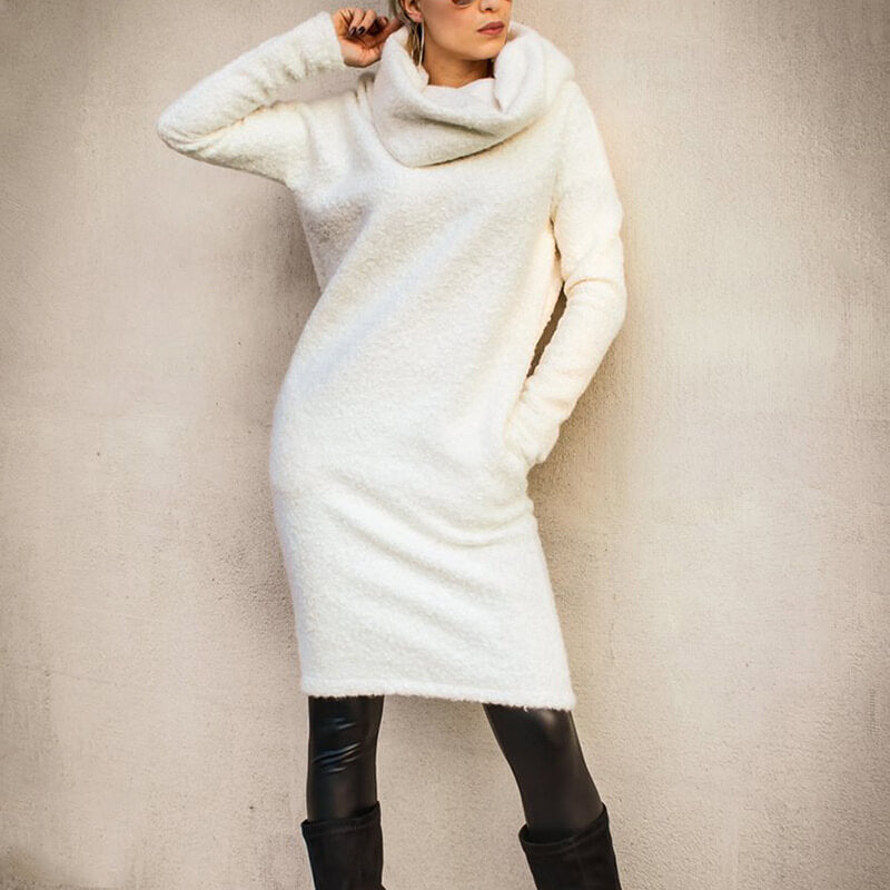 Turtleneck Long Fleece Sweater Dress