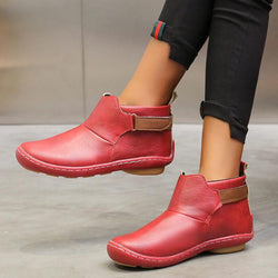 Low Heel Leather Round Toe Ankle Boots