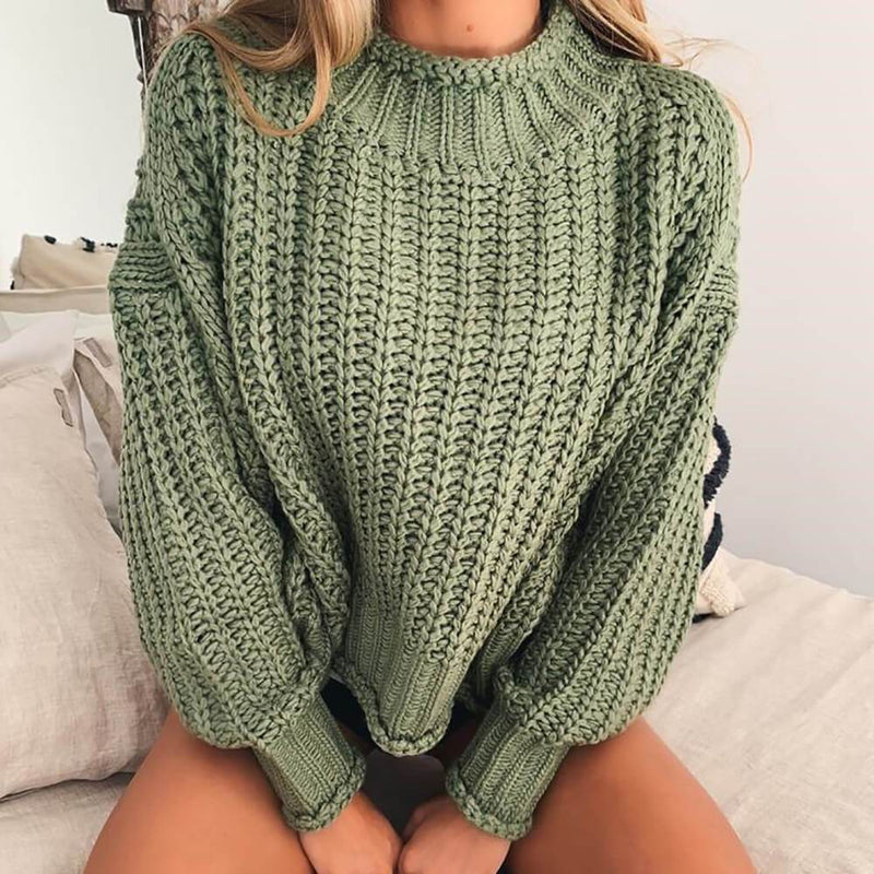 Turtleneck Cropped Crochet Sweater