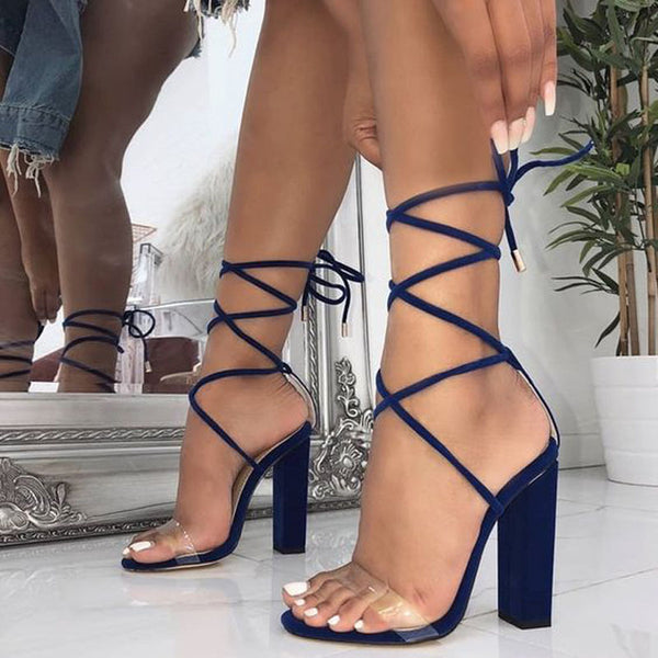 Simple Strap Block Heel PVC Sandals
