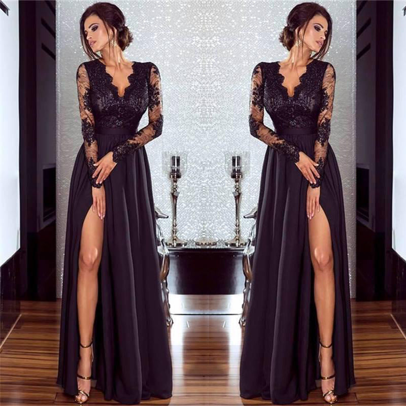 V-neck Long Lace Sleeves Women Long Split Party Dress