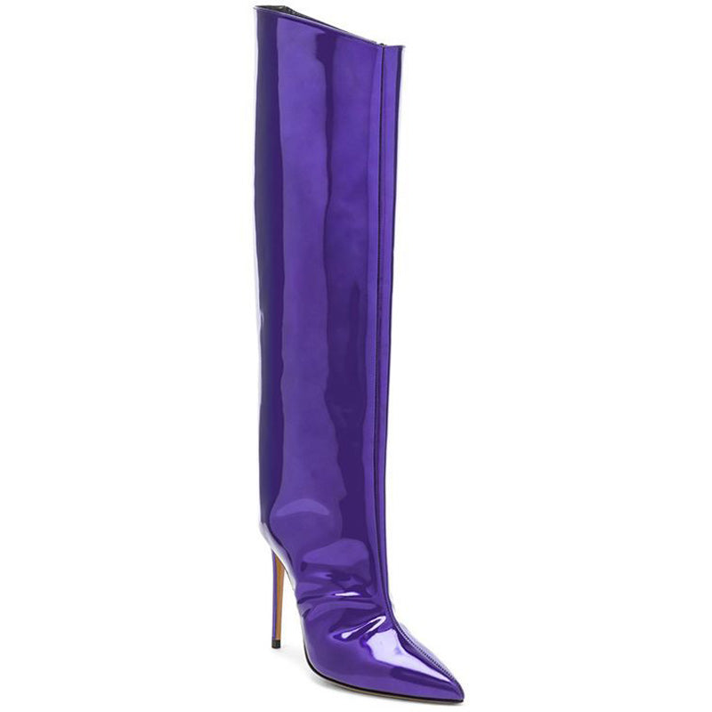 Fashion Leather Bright Color High Heel Knee High Boots