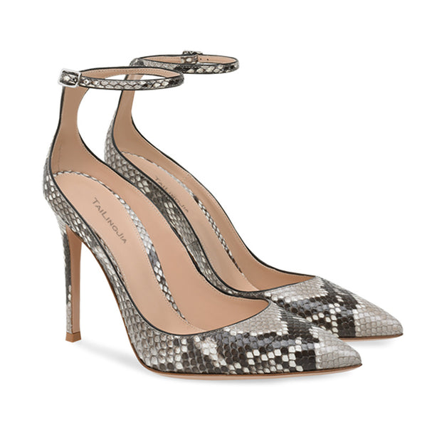 Sexy Snakeskin PU Point Toe Buckle High Heels