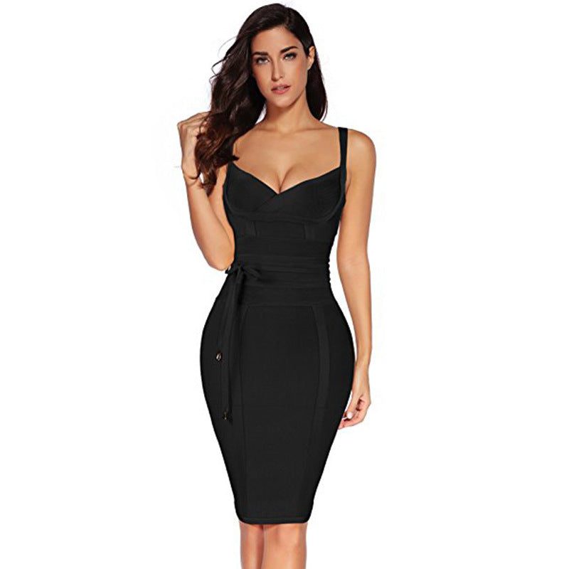 Spaghetti Straps Solid Color Bandage Women Knee-length Dress