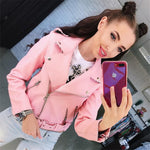 Solid Color Lapel Zippers Women Slim Short Cropped PU Jacket