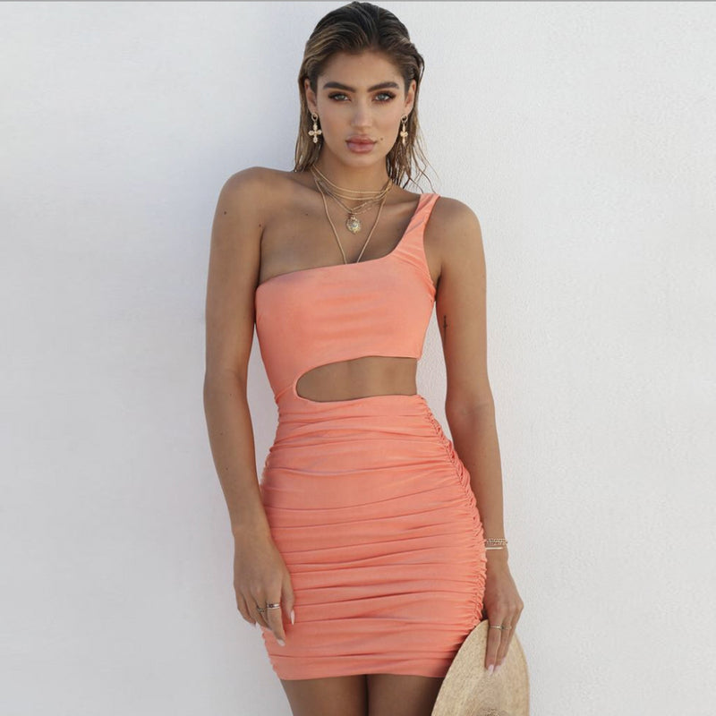 One Shoulder Cut Out Solid Color Women Short Bodycon Dress