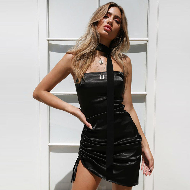 Spaghetti Straps Irregular Women Little Black Short Dress