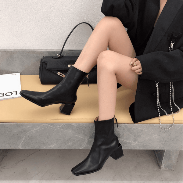 Leather Square Toe Chunky Heel Zipper Calf Boots