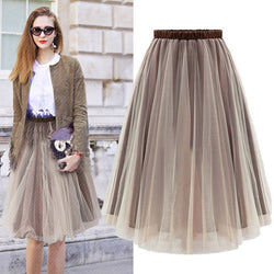 Joker Pure Color Pleated Flared Organza Skirt