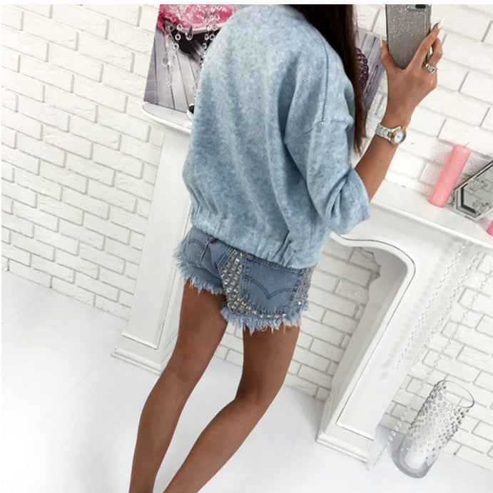 Pure Color Long Sleeves Scoop Short Cardigan
