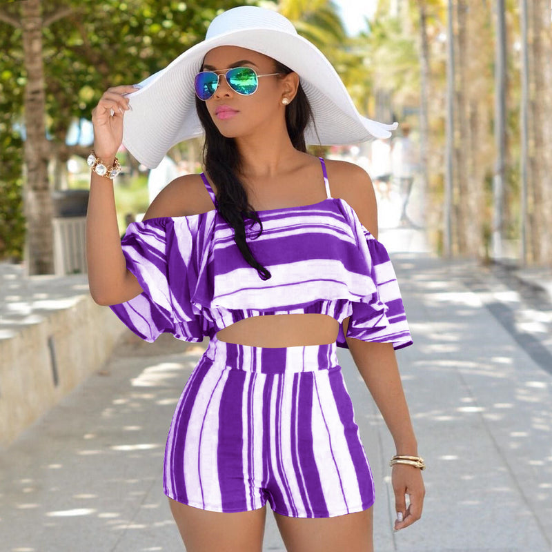 Stripe Spaghetti Straps Crop Top with High Waist Shorts Women Two Pieces Set
