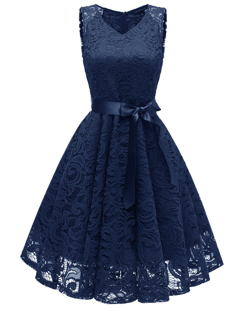 V-neck High Waist Straps Bowknot Women Knee-length Dress