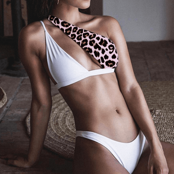 Leopard One Shoulder Cutout Thong Bottom Bikinis