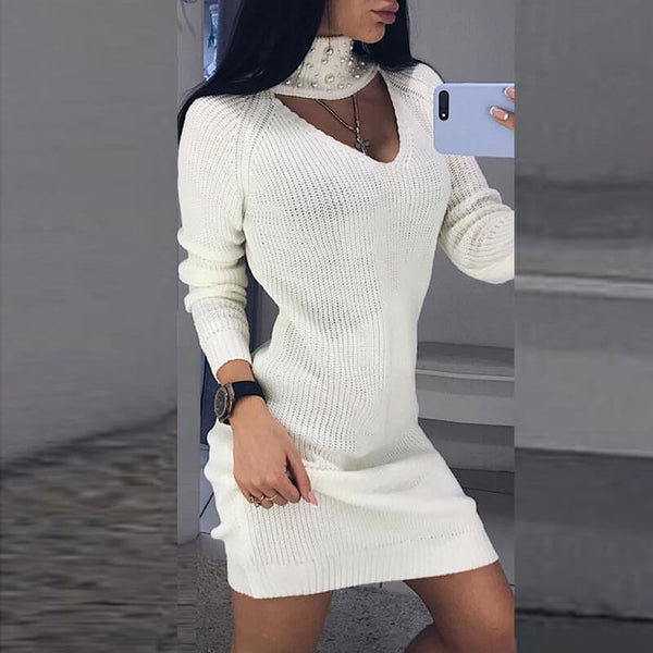 Turtleneck Beads Choker Oversized Sweater Dress