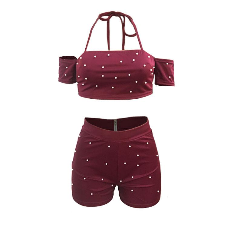 Beadings Off Shoulder Crop Top with High Waist Shorts Two Pieces Set