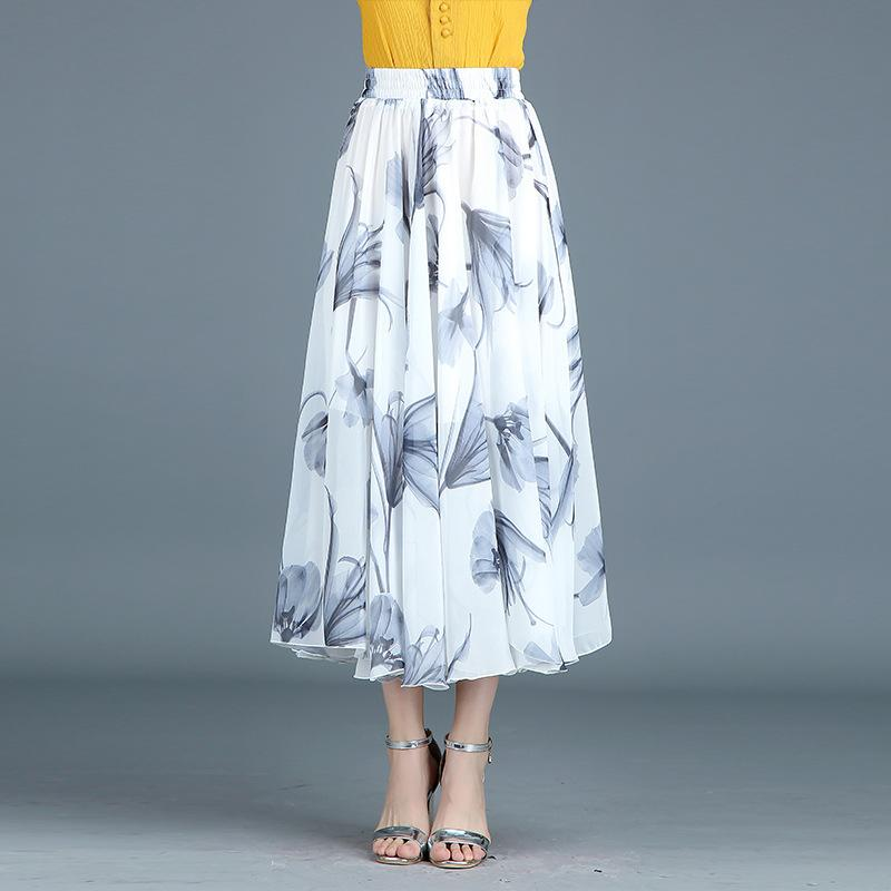 Floral Print High Waist Pleated Maxi Swing Skirt - May