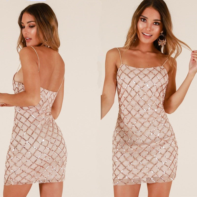 Spaghetti Straps Sequins Short Slim Dress