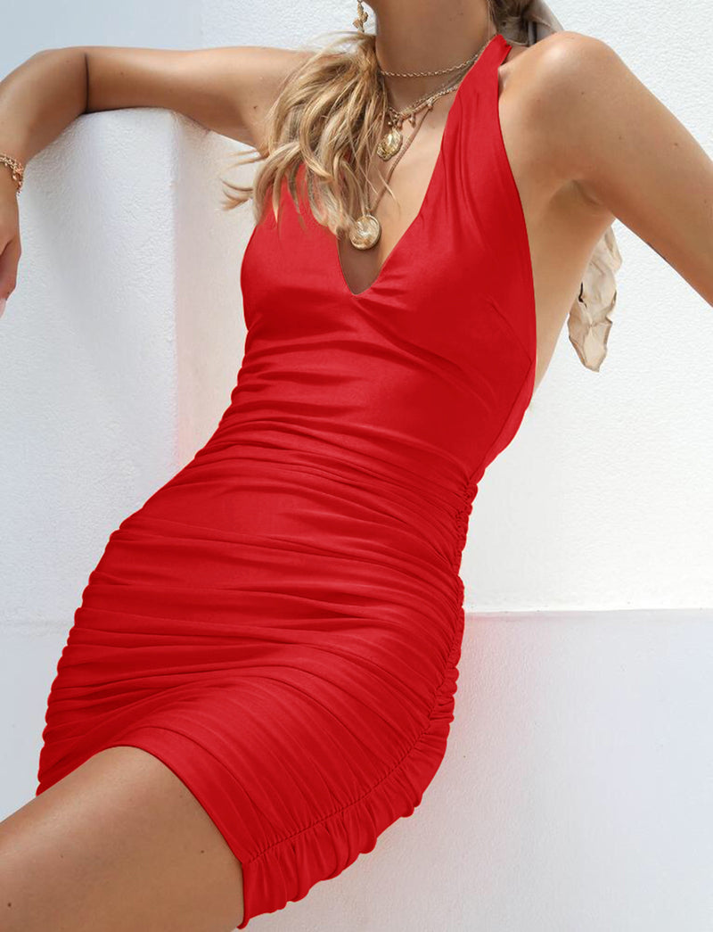 Deep V-neck Halter Backless Candy Color Women Short Bodycon Dress
