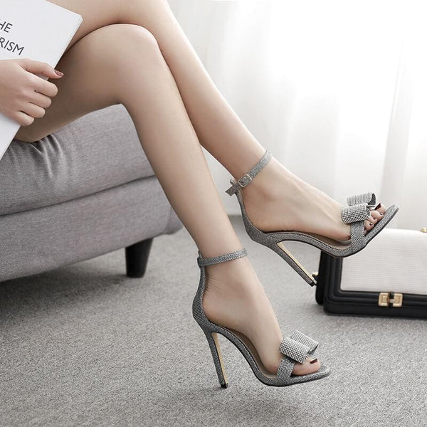 Silver Rhinestone Bow High Heels Sandals