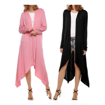Pure Color Irregular Long Sleeves Scoop Long Cardigan