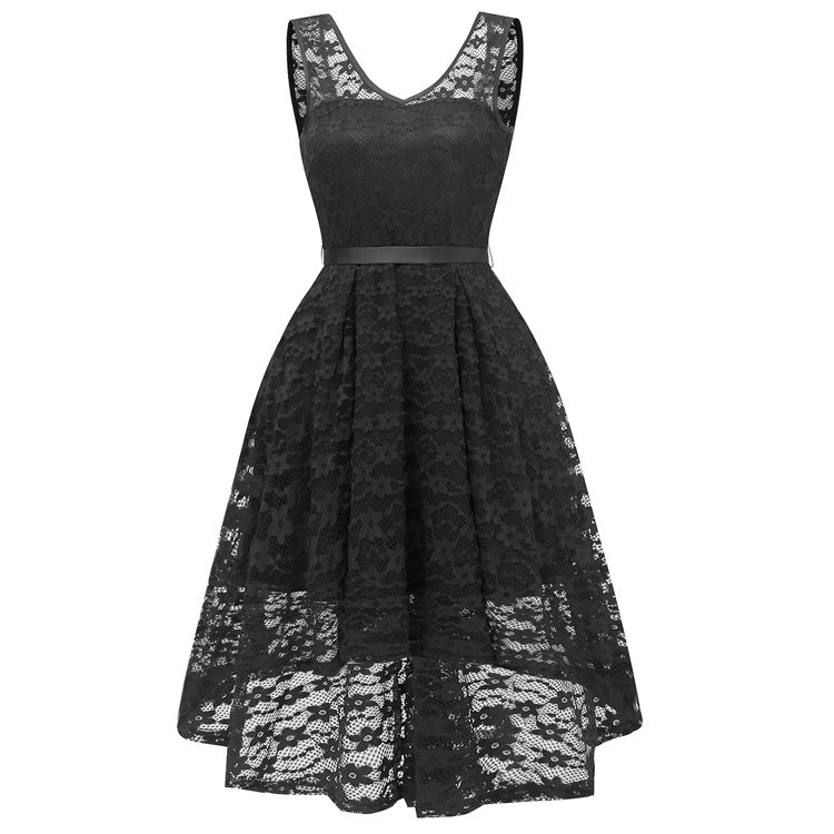 Pure Color V-neck High Waist Women Short Irregular Lace Party Dress