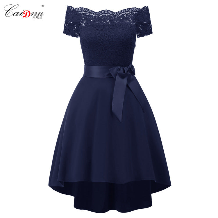 Off the Shoulder Lace Patchwork Straps Bowknot Short Dress