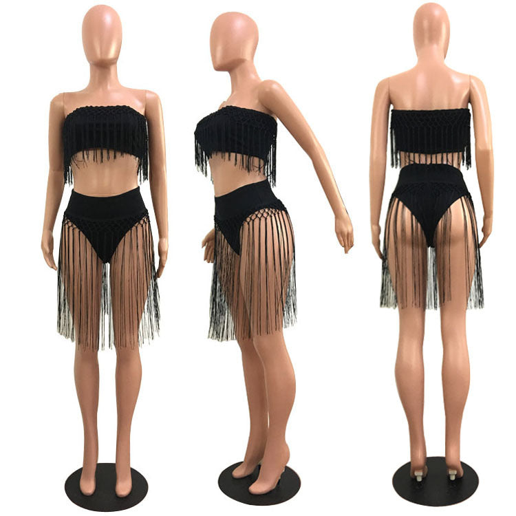 Tassels Strapless Crop Top with High Waist Shorts Women Club Two Pieces Set