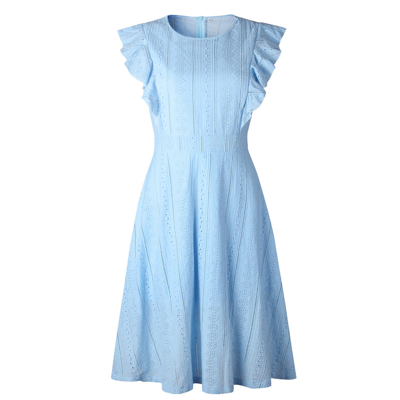 Ruffles High Waist Pure Color Women Lace Tee-length A-line Dress
