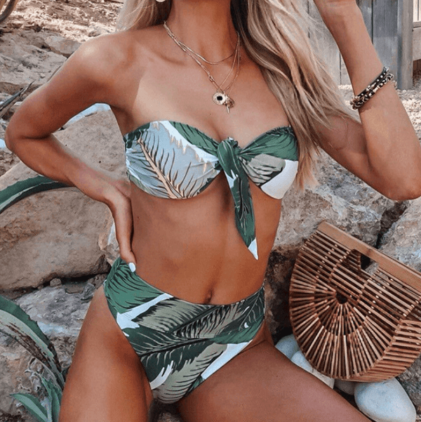 Leaves Print High Rise Thong Bottom Tube Bikinis