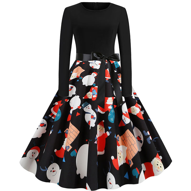 Retro Christmas Print Patchwork Swing Dress