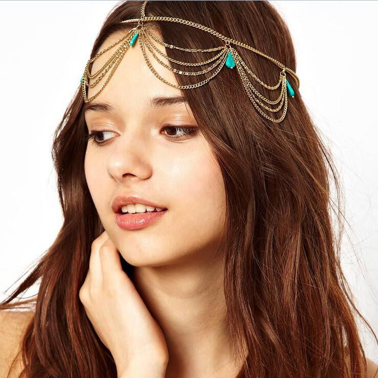 Bohemian Turquoise Tassel Hair Accessories