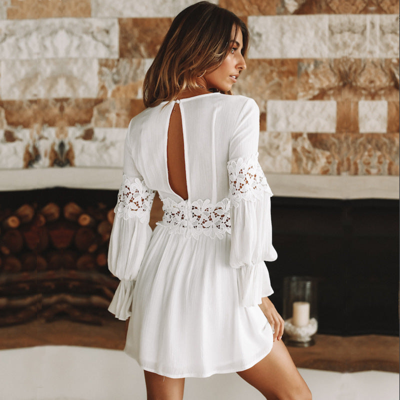 Deep V-neck Lace Patchwork Long Trumpet Sleeves Women Short White Dress
