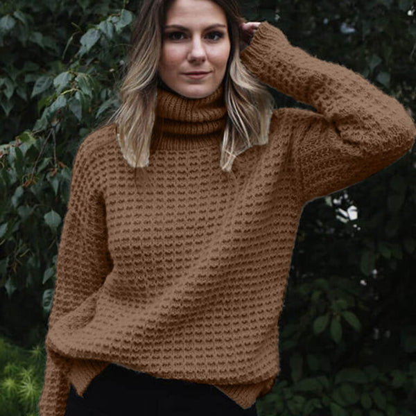 Turtleneck Crochet Pullover Thick Sweater