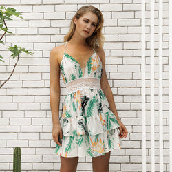 Flower Print Spaghetti Straps High Waist Lace Patchwork Women Short Beach Dress