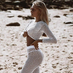 Transparent Hollow Out Crop Top with Long Skinny Pants Women Two Pieces Beach Set