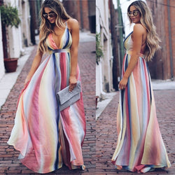 Deep V-neck Spaghetti Straps Stripes High Waist Backless Women Long Bohemian Dress