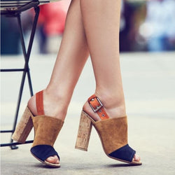 Colorblock Peep Toe Suede Chunky Heel Sandals
