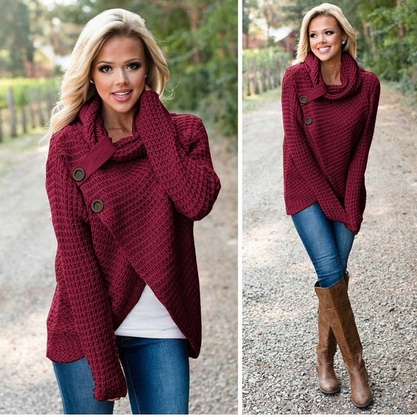 Turtleneck Button-Up Crochet Wrap Cardigan Sweater