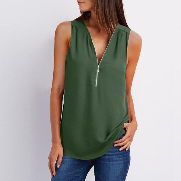 Deep V-neck Pure Color Sleeveless Loose Tank Top