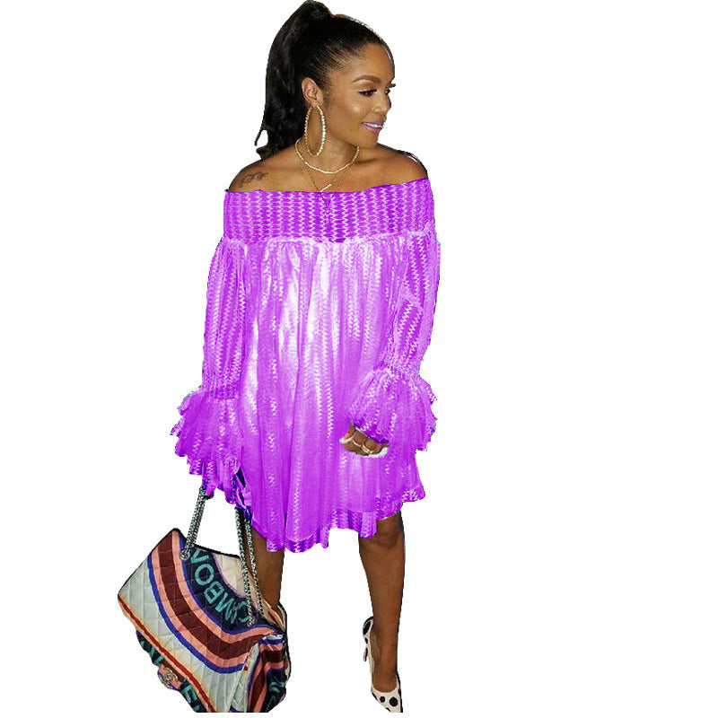 Off the Shoulder Long Trumpet Sleeves Candy Color Women Loose Short Lace Dress