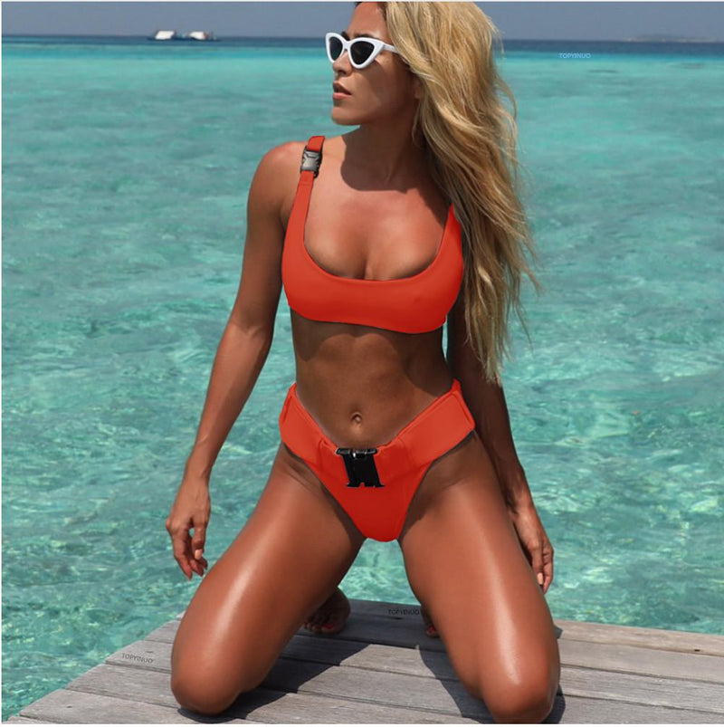 Hasp Belt Straps Pure Color Low Waist Two Pieces Swimwear