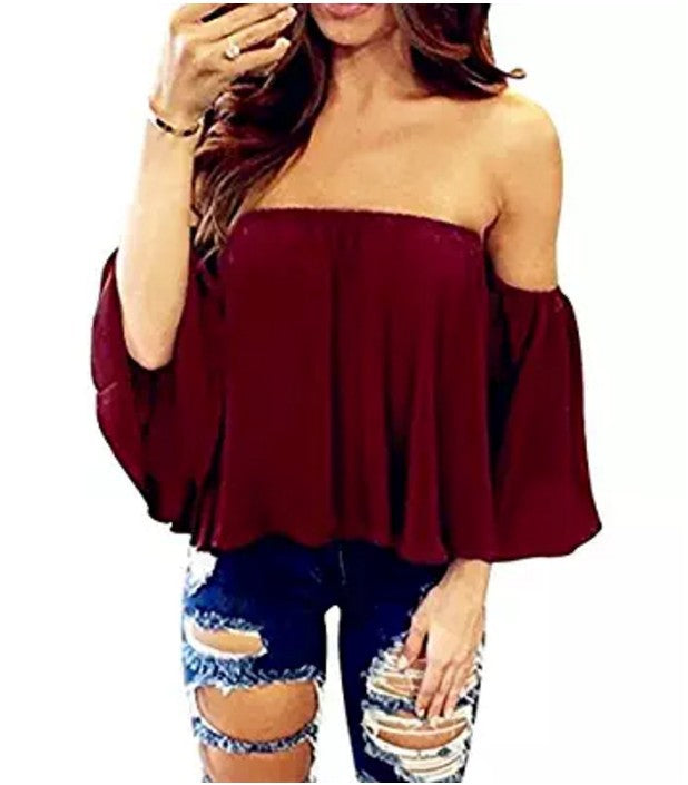 Sexy Off Shoulder Long Sleeve Chiffon Loose Blouse(Enlarging code)