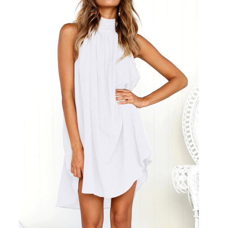 Bare Shoulder High Neck Pleated Women Loose Short Dress