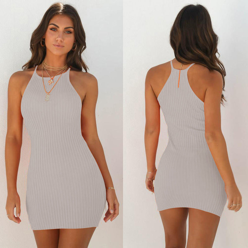 Bare Shoulder Solid Color Slim Women Boydcon Short Dress