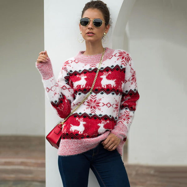 Christmas Snowflakes Jacquard Knit Sweater