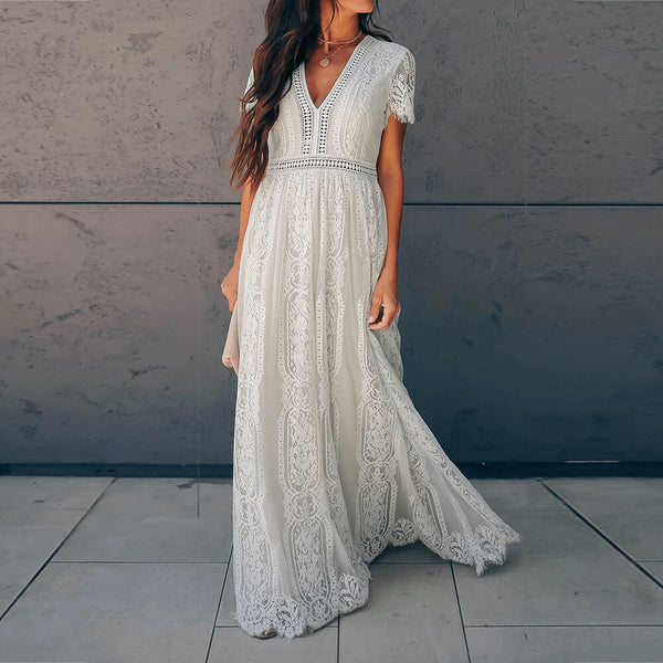 Lace V Neck Flowy Swing Gown Party Maxi Dress