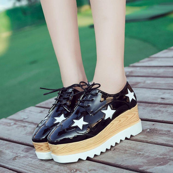 Stars Decorate Platform Round Toe Lace Up Short Boots Casual Shoes