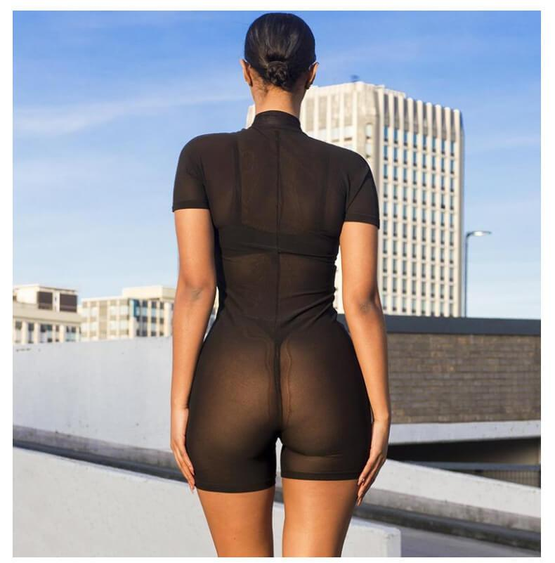 Lace Hollow Out Long Sleeve High Neck Short Jumpsuit