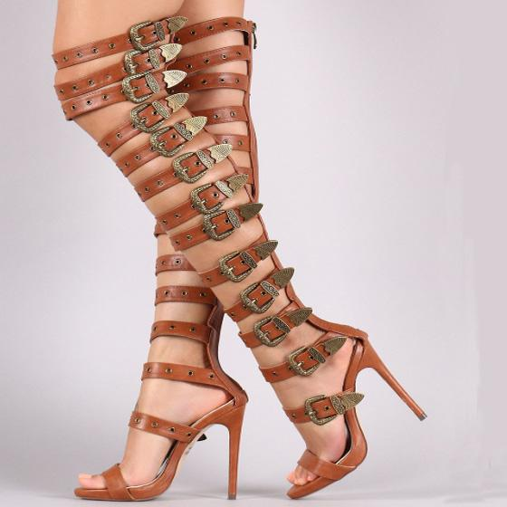 Party Leather Buckle High Heel Knee High Sandals