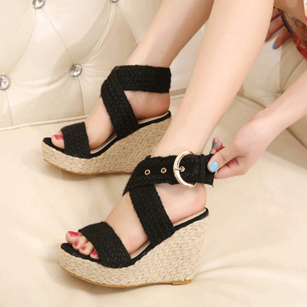 Platform Wedge Espadrille Buckle Sandals